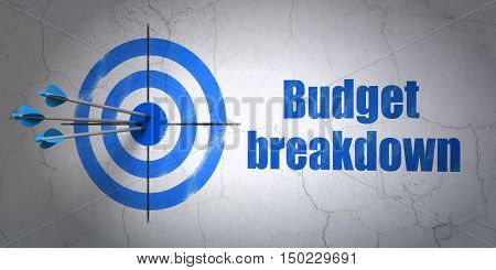 Success business concept: arrows hitting the center of target, Blue Budget Breakdown on wall background, 3D rendering