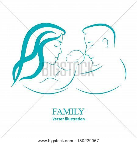 Vector illustration sketch mom and dad holding a small child. Logo happy family isolated on white background. Parents with baby infant. Mother, father and their little kid. Side view of the profile