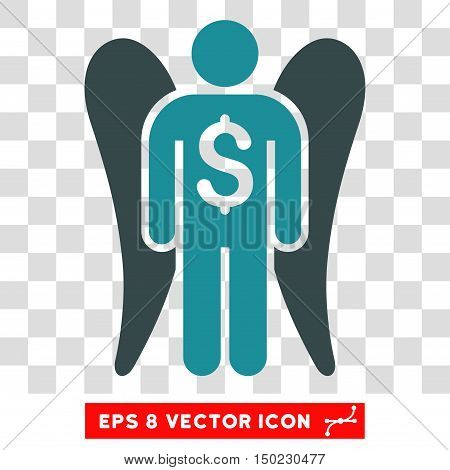 Angel Investor vector icon. Image style is a flat soft blue iconic symbol.