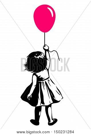 Vector hand drawn black and white silhouette illustration of a toddler girl standing with pink red balloon in hand back view. Urban street art style graffiti stencil art design element.