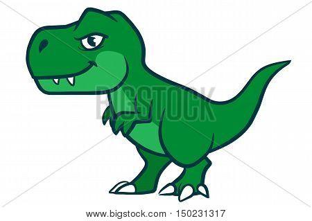 Hand drawn cartoon vector character illustration of a cute smiling green Tyrannosaurus Rex