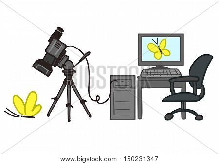Vector hand drawn cartoon illustration of video rendering process with video camera tethered to PC taking video of a butterfly and the video being displayed on computer screen