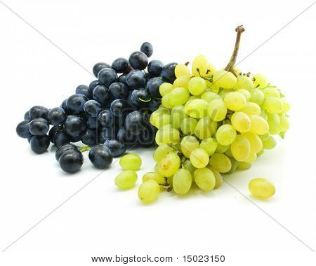 clusters of blue and green grape isolated on white background