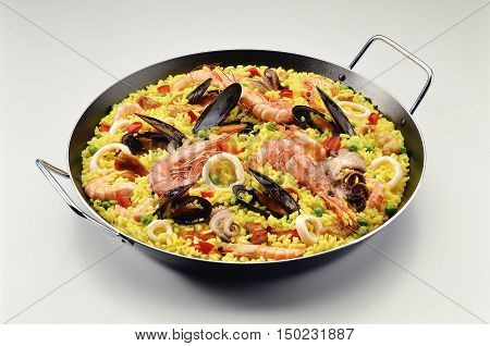 Classic Seafood Paella with Saffron in a Pan