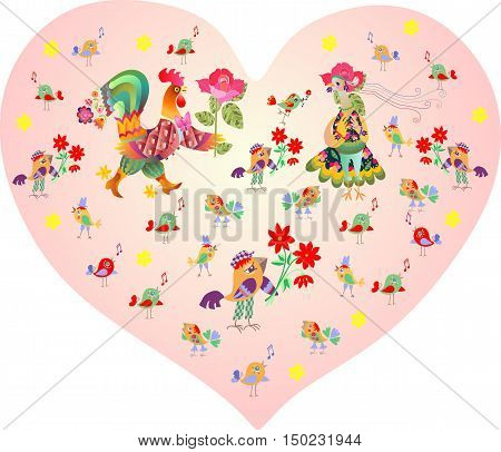 Valentine's card. Pink heart with cute cartoon rooster, hen and other birds and flowers. Year of the rooster. 2017.