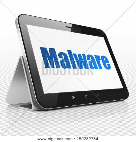 Safety concept: Tablet Computer with blue text Malware on display, 3D rendering