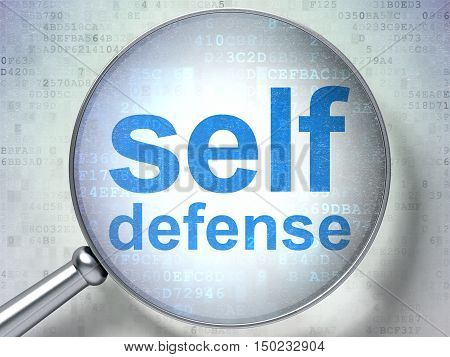 Safety concept: magnifying optical glass with words Self Defense on digital background, 3D rendering