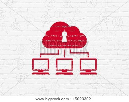 Security concept: Painted red Cloud Network icon on White Brick wall background with Scheme Of Hexadecimal Code