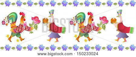 Border with beautiful flowers, fairy ducks and cocks. Vector illustration. Year of the rooster. 2017. Cute cartoon birds.