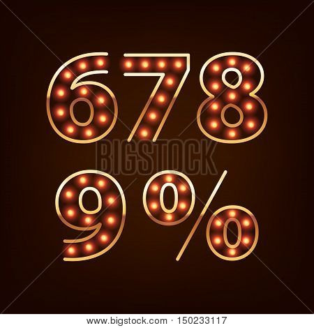 Bulb lamp neon digits vector illustration. Red lights with golden rim. Good for retro signboard poster banner flyer design.
