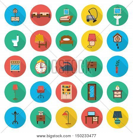 furniture, interior 25 flat icons set for web design