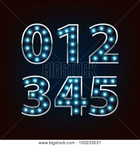 Bulb lamp neon digits vector illustration. Blue lights with silver rim. Good for retro signboard poster banner flyer design.