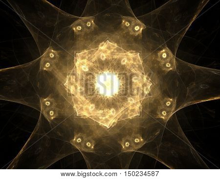Geometry of Space series. Visually attractive backdrop made of conceptual grids curves and fractal elements suitable as element for layouts on physics mathematics technology science and education.. Vector.