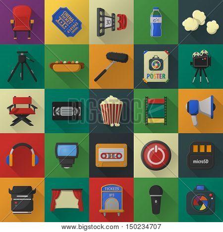 Cinema, film, media 25 flat icons set for web design