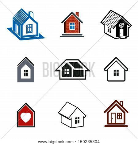 Simple cottages collection real estate and construction theme. Houses vector illustration with heart symbol.