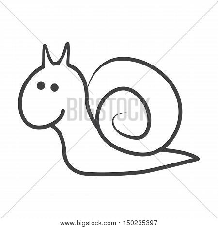 snail black simple icon on white background for web design