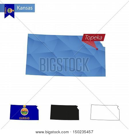 State Of Kansas Blue Low Poly Map With Capital Topeka.