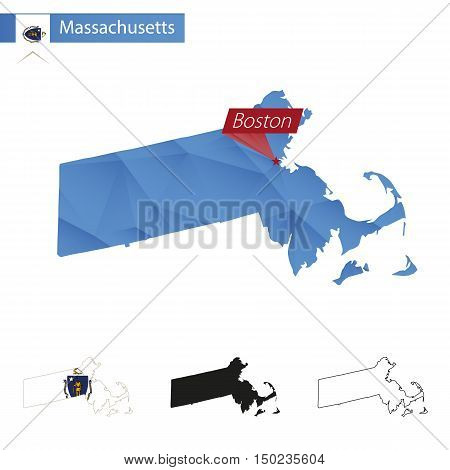 State Of Massachusetts Blue Low Poly Map With Capital Boston.