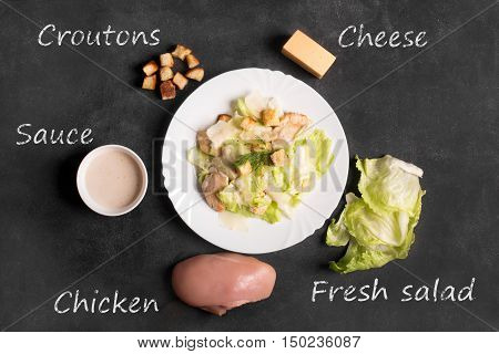 Classical Caesar salad with sliced chicken meat, fresh salad leaves, croutons and sauce in white round plate on the black chalkboard