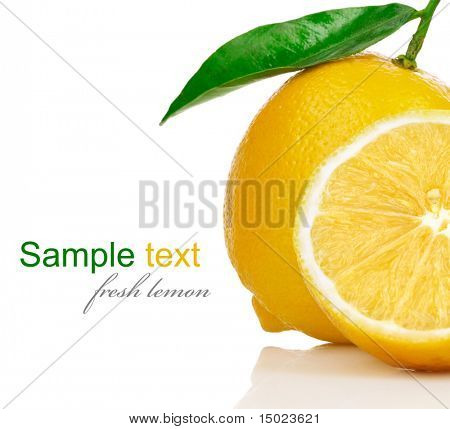 fresh lemons with cut and green leaves isolated on white background