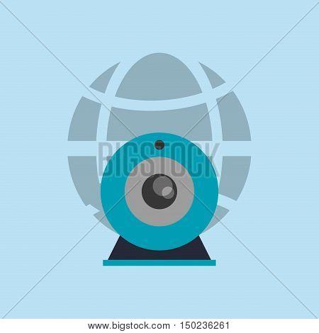 earth globe diagram with webcam icon vector illustration design