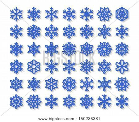 Cute snowflake collection isolated on white background. Flat snow icons snow flakes silhouette. Nice snowflakes for christmas banner cards. New year snowflake. Organic and geometric snowflakes set.