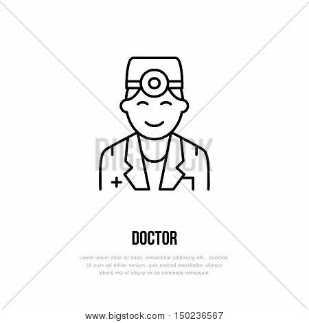Vector line icon of doctor. Hospital clinic linear logo. Outline doctor symbol for polyclinics. Surgeon orl therapist physician. Design element for sites hospital. Medical business logotype sign