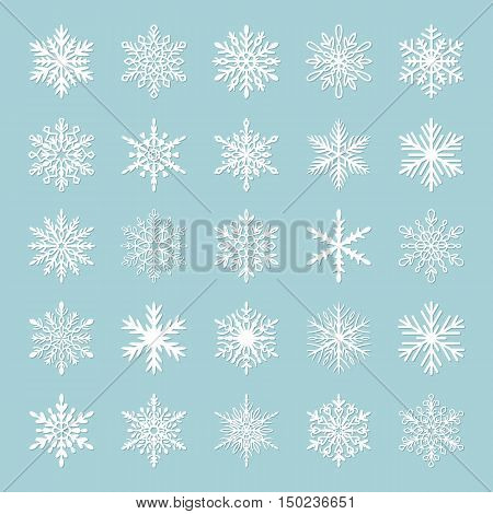 Cute snowflake collection isolated on blue background. Flat snow icons snow flakes silhouette. Nice snowflakes for christmas banner cards. New year snowflake. Organic and geometric snowflakes set.