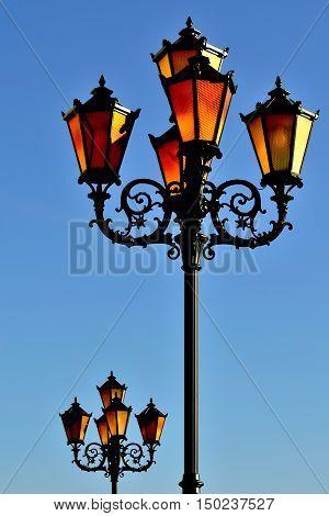 Lights of the fishing village. Kaliningrad formerly Koenigsberg Russia