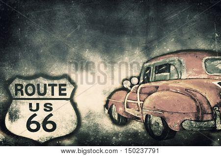 Route 66 US grunge textured. Grunge illustration.