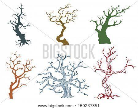 Set of Dead tree vector illustration eps10 format