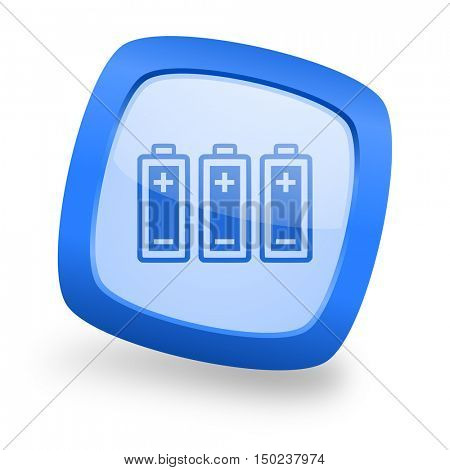 battery blue glossy web design icon