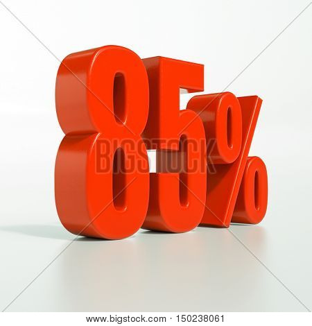 3d render: 85 percent, percentage discount sign on white, 85%