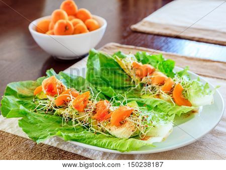 Serving of vegan salad with fresh apricot and lettuce leaves