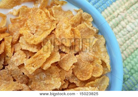 Macro still-life of corn flakes with milk in a blue bowl on color coordinated placemat.