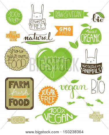 Collection of environmental badges labels and icons all handdrawn with hand lettered text