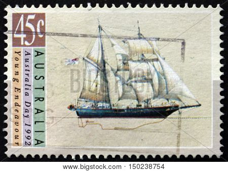 AUSTRALIA - CIRCA 1992: a stamp printed in Australia shows Young Endeavour Sailing Ship Australia Day circa 1992