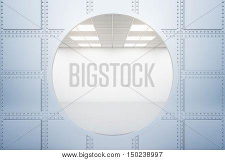 Bank vault behind iron wall with circular opening. 3D Rendering