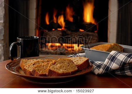 Freshly baked apple cinnamon bread served fireside