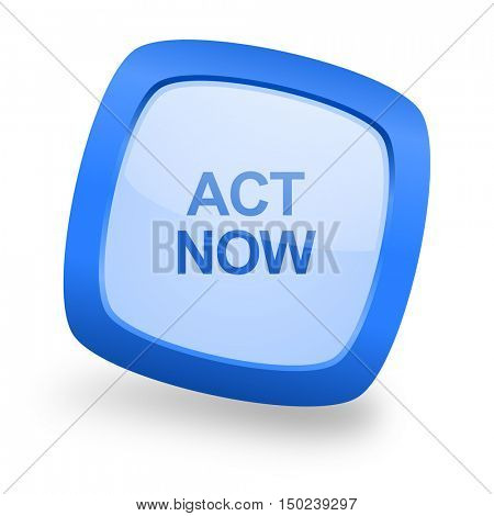 act now blue glossy web design icon