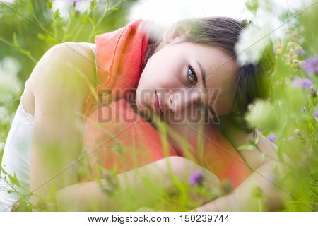 Woman Amongst Wildflowers