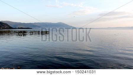 picture of a lake Ohrid Macedonia Republic of sunset