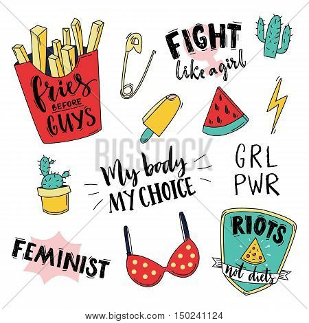 Feminism slogan and patches. Vector 80s style design. Vintage pop stickers and badges. My body, my choice. Fries before guys, fight like a girl. Girl power emblem