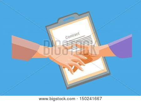 Handshake Businessman Contract Paper Document, Business Man Hands Shake Flat Vector Illustration