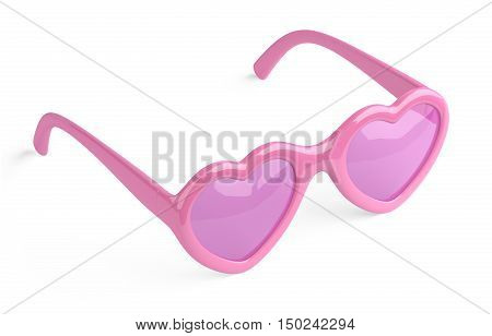 Rose pink colored glasses in a form heart. Happiness and love conceptual 3d illustration.