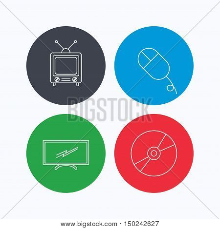 Retro TV, PC mouse and DVD disc icons. Widescreen TV linear sign. Linear icons on colored buttons. Flat web symbols. Vector