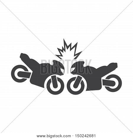 Motorcycle collision black simple icon on white background for web design