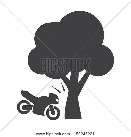 motorcycle crash black simple icon on white background for web design