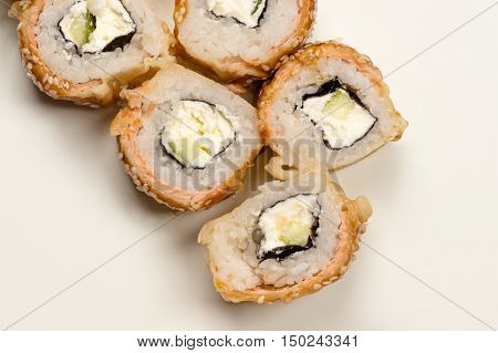 delicious rolls from above close up isolated