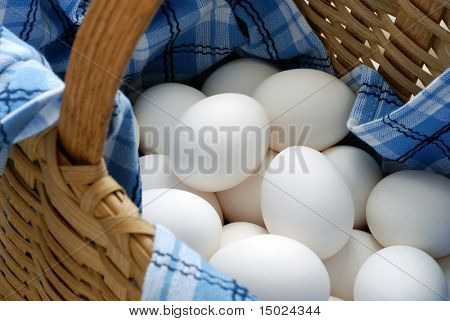 Fresh eggs in a woven basket with blue and white dish towel. Selective focus on eggs with shallow dof.  Concept - all eggs in one basket.
